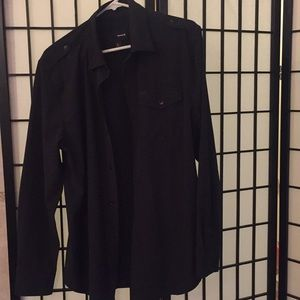 Long sleeve black button up Hurley